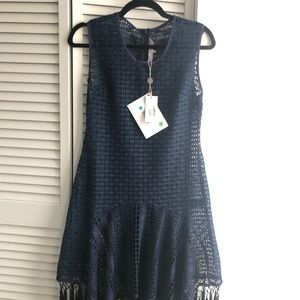 Small Clover Canyon crocheted navy dress